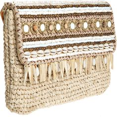SKEMO Lali Embellished Straw Clutch (2 485 ZAR) ❤ liked on Polyvore featuring bags, handbags, clutches, boho purses, skemo, straw purse, boho chic handbags and bohemian handbags