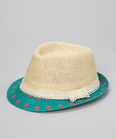 Take a look at this Tan & Teal Polka Dot Fedora by vfish on #zulily today!