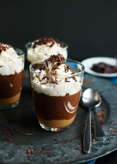 Salted Caramel Chocolate Mousse - A layer of salted caramel topped with a delicious dark chocolate mousse.