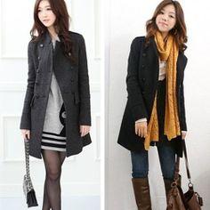 Women Lady Long Winter Double Breasted Trench Coat Jacket Outcoat Outwear s L | eBay