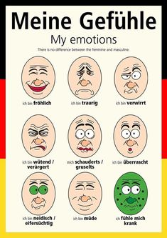 """Funny Facial Expressions for everyone. So when Becca asks how is everyone doing?… Funny Facial Expressions for everyone. So when Becca asks how is everyone doing? You can say more than """"Ich bin gut"""" Hows everyone doing today? Study German, German English, Learn German, Learn English, German Grammar, German Words, Funny Facial Expressions, Deutsch Language, Germany Language"""
