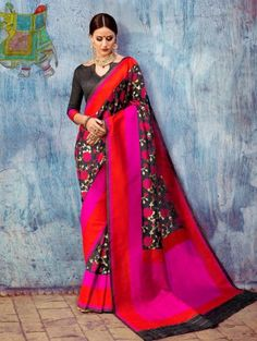 Black and Pink Silk Saree with Weaving