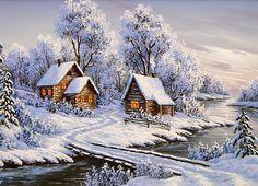 A beautiful snow scene. Winter Landscape, Landscape Art, Landscape Paintings, Winter Szenen, Winter Cabin, Winter Pictures, Christmas Pictures, Christmas Scenes, Christmas Art