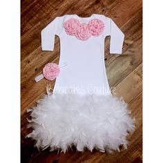 38f2cd58e11 Items similar to Feather Baby Gown, Feather Baby Outfit, Newborn Photo  Outfit, Feather Baby Dress, Newborn Take Home Outfit, Coming Home Outfit,  ...