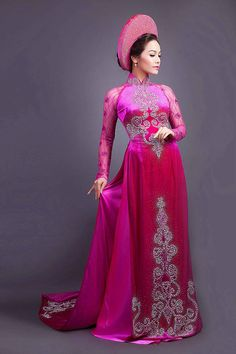 Áo dài cưới truyền thống màu hồng cánh sen - MarryWedding