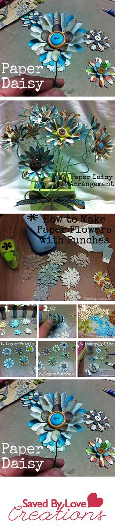How to make paper flowers including curling the petals, attaching to wire and securing with buttons, brilliant. Also mentions using distress ink to disguise the stark white paper back if using one sided paper. Fabric Paper, Crepe Paper, Diy Paper, Paper Crafts, Diy Crafts, Felt Flowers, Diy Flowers, Fabric Flowers, Origami Flowers Tutorial