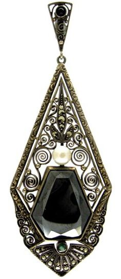 Theodor Farhner Haematite & Silver Pendant Art Deco (1920-1935. A very stylish pendant designed by Theodor Fahrner in the 1920s. Pieces such as this one are sought after as they are most typical of his work. It is signed with his monogram on the reverse.