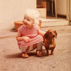 Happy Saturday! I went over to my parents' house last night and my mom dug out an old photo album with this keeper in it, documenting my early appreciation of dachshunds. I was 2 years old! I love this photo! There is something so funny about seeing myself so small and still crouching to pet a little dog whose legs are so short! . #dachshundlove #throwback #oldpic #oldphoto #doxie #wheniwaslittle