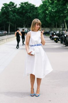 summer snow-white satin dress.