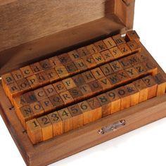 70 pçs/set de DIY de Regular Script número minúsculas letra do alfabeto carimbos de borracha de madeira decoração caixa de madeira