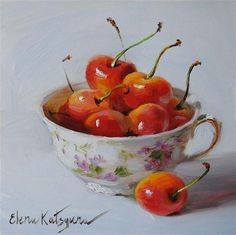 "Daily Paintworks - ""Cherries in the Cup"" by Elena Katsyura"