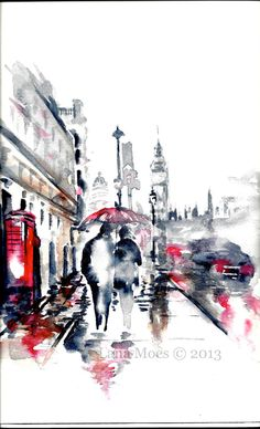 "Love rain romance "" Rainy London "" Original Watercolor Painting by Lana Moes"