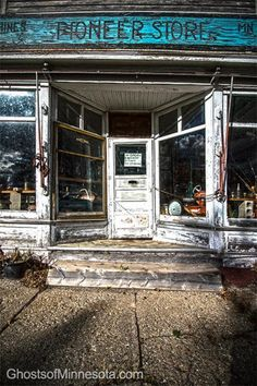 Abandoned general store in the ghost town of Hines, Minnesota