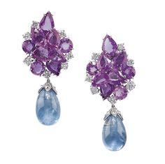 Michele della Valle - Pair of aquamarine, pink sapphire and diamond ear pendants - ciascuno con grappolo in zaffiri rosa taglio goccia e brillanti, pendente con acquamarina a goccia montata in oro e brillanti, punzone 750.