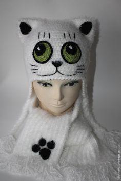 """Купить Комплект """"Котик"""" - белый, детская шапочка, комплект вязаный, шарфик вязаный, котик, однотонный"""