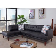 Beverly Fine Furniture Aery Faux Leather Sectional Sofa   from hayneedle.com