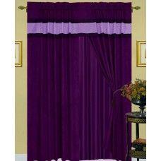 New Purple Black Suede Curtain Valance Panels Liner Tie back Tassel Window Coverings, Window Curtains, Purple And Black, Black Suede, Tassel, Windows, Tie, Luxury, Cats