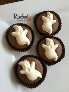 12 Chocolate Ghost Oreo Cookie Favors by rosebudchocolates on Etsy