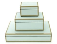 """Duck Egg/Sand Stacking  Handcrafted lacquered wood boxes in duck egg blue with sand trim. Interior is lined with black felt.     small - 5""""x5""""x3"""" - IN STOCK  $75.00  (SKU PC084)    Gift wrap*   medium - 8""""x6""""x3.5"""" - IN STOCK  $95.00  (SKU PC097)    Gift wrap*   stationery - 12""""x9.5""""x2.5"""" - AVAILABLE 5/12, MAY PRE-ORDER  $125.00  (SKU PC094)   Gift wrap*"""