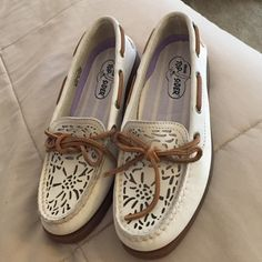 Cutest Sperry boat shoes ever! NEW!  These are BRAND NEW and never worn although I unfortunately took the tag off. Cream man made leather uppers with crocheted detail and suede shoe strings. Heavily discounted so please no low ball offers! These shoes are perfect for spring and summer!  Sperry Top-Sider Shoes