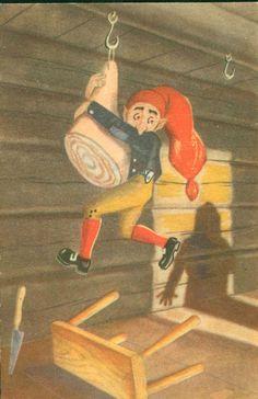 Julekort SPANGE, KNUT. Nisse prøver å stjele skinke. Utg Litografisk Kompani Postgått på 50-tallet