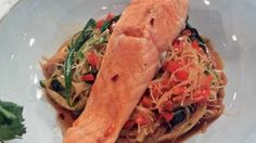 Salmon with vermicelli and rhubarb Eton mess