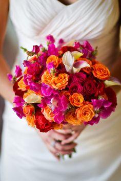 gorgeous red, pink, orange, and ivory bridal bouquet - photo by Washington DC…