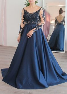 Long Sleeves Sheer Bodice Aline Evening Gown   Dentelle Bridal