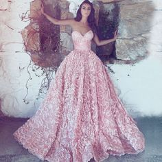 A-Line Sweetheart Sweep Train Pink Lace Prom Dress M2494