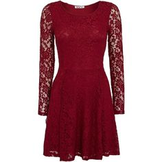 Wal-G Long sleeve lace skater dress ($29) ❤ liked on Polyvore featuring dresses, short dresses, red, robes, vestidos, berry, clearance, long sleeve short dress, red skater dress and long sleeve dresses