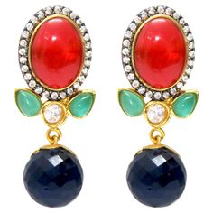 blue orb, red stone, accessori, blue green, facet blue, brass cocktail, ear candi, blues, cocktail earring