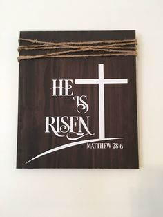 Excited to share the latest addition to my #etsy shop: He Is Risen Matthew 28:6 Religious Rustic  Easter Wooden Wall Sign