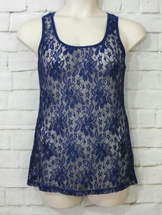 Womens MAURICES Sheer Blue Floral Lace Scoop Neck Racerback Tank Cami Top SZ L  #Maurices #TankCami #CareerCasual