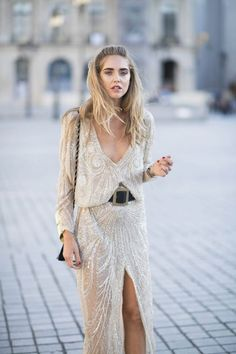 such a stunning embellished maxi dress, love the split