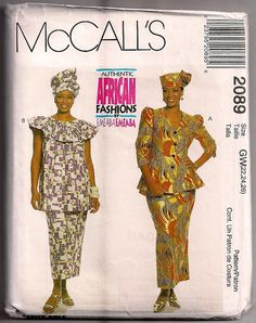 mc calls african pattern 2089 | McCalls 2089 Authentic African Fashions by Emeaba two piece dresses ...