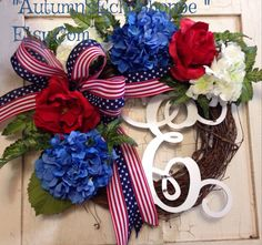 PATRIOTIC WREATH ~ Patriotic Door Decor ~ Memorial Day Wreath~ July 4th Wreath ~ USA Decor ~Military Wreath ~ Independence Day Decor Wreath by AutumnsEchoShoppe on Etsy