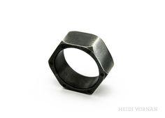 Custom-made ring from 925 Sterling silver,  6x 0.01ct black brilliant cut diamonds Design Heidi Vornan