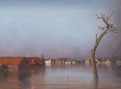 Überschwemmtes Dorf, 2011, Acryl und Öl auf Leinwand, 60 x 80 cm