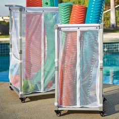 Clear The Pool Of Noodles, Toys, And Other Accessories With Our Collapsible  Storage Cart.