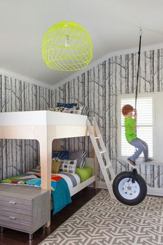 What kid wouldn't want a tire swing in their bedroom?! Parents will love the modern elements of the decor, but kids will love the set up.