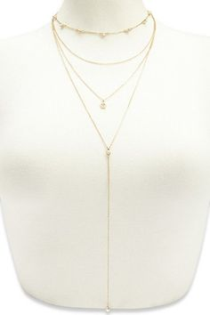 Layered Faux Gem Charm Drop Necklace | Forever 21