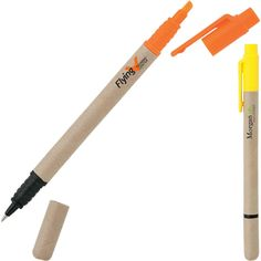 Dual-action highlighter & ballpoint combo with recycled paper barrel.  Highlighter on one side and ballpoint on other.