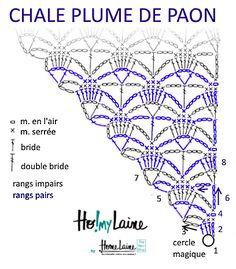 Chèche « Plume de paon » : modèle gratuit de Homelaine, #haken, gratis teltekening, haakschema, omslagdoek, #haakpatroon