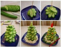 Cucumber tree :-D - Food Carving Ideas Christmas Party Food, Xmas Food, Christmas Appetizers, Christmas Treats, Funny Christmas, Diy Christmas, Salad Recipes Healthy Lunch, Salad Recipes For Dinner, Edible Centerpieces