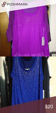 NWT JLo Tops. 2 colors available. NWT.  Jennifer Lopez tops.  One blue. One purple.  Both are 1x. Both with gold sparkle accents.  Price is per top.  The purple one though NWT does not have the sewn in label tag for some reason. Jennifer Lopez Tops Tank Tops