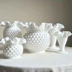 Fenton Hobnail Milk Glass Vase  Large and by BarkingSandsVintage,