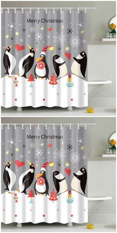 Christmas Penguin Print Fabric Waterproof Bath Shower Curtain