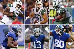 Jets wide receivers (top left to right) Brandon Marshall, Eric Decker and Quincy Enunwa and Giants wide receivers (bottom left to right) Sterling Shepard, Odell Beckham Jr. and Victor Cruz.