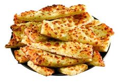 CHEESE STICKS Papa John's Copycat Recipe   1/2 lb pizza dough 2 tablespoons salted butter, softened 2 cloves garlic, finely minced 1/4 cup grated Parmesan cheese 1/4 lb grated Mozzarella cheese    Preheat oven to 500 degrees with a pizza stone inside. If you don't have a pizza stone, use an upside down cookie sheet. Mix butter and garlic in a small bowl and set aside.