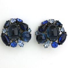 Vintage Costume Jewelry - Sapphire 1950s Earrings by Schreiner